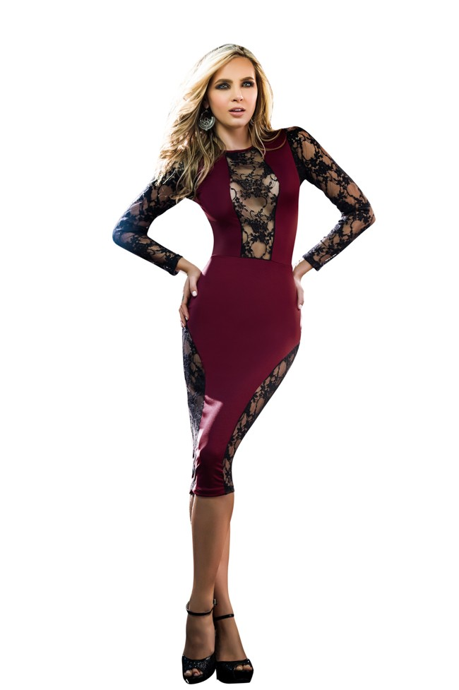 8b7cc4536b2 Mapale SO Burgundy Black Dress with Sheer Black Lace Detail 4391 – Sleep  with me tonight!!