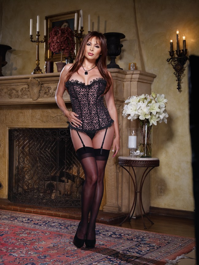 3701cee30b Dreamgirl  Disc  Plus Size Black Pink Satin Corset and Thong 8046X – Sleep  with me tonight!!